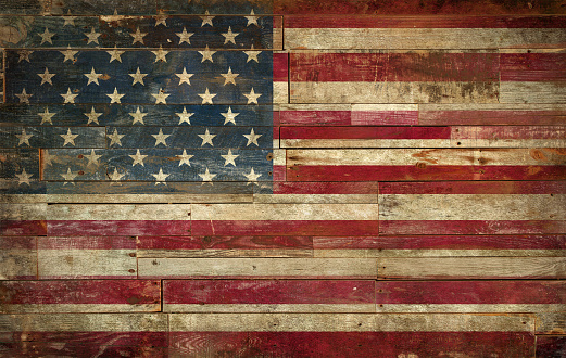 istock Flag of USA, painted on a grunge Wall 628159216