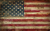 Flag of USA, painted on a grunge Wall