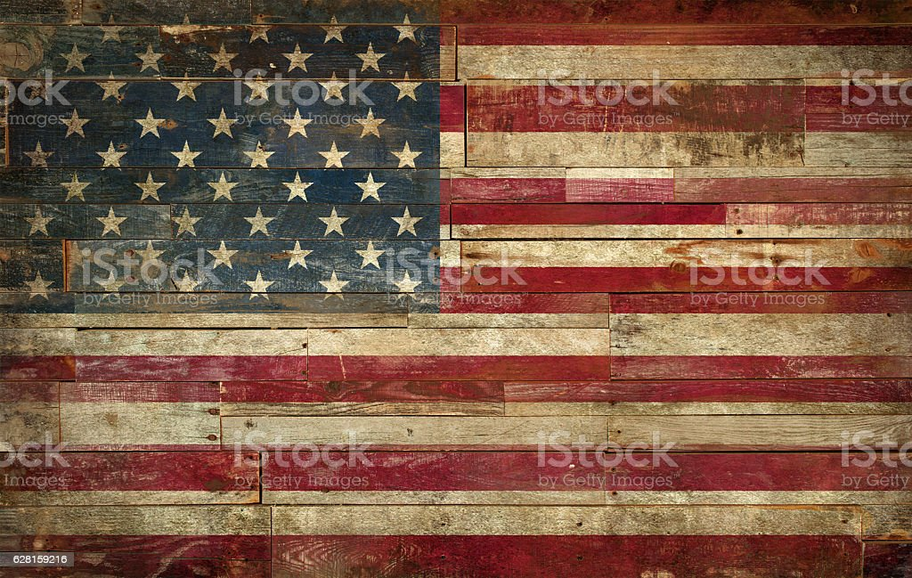 Flag of USA, painted on a grunge Wall stock photo