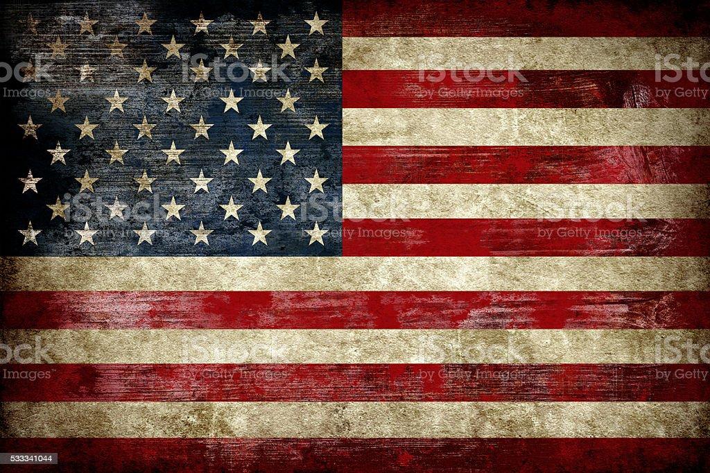 Flagge der USA auf einen Holz Plank – Foto
