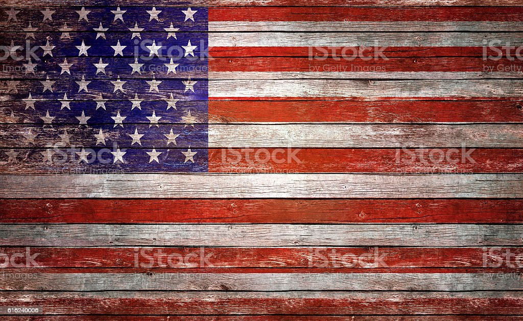 Flag of USA, painted on a wood plank stock photo