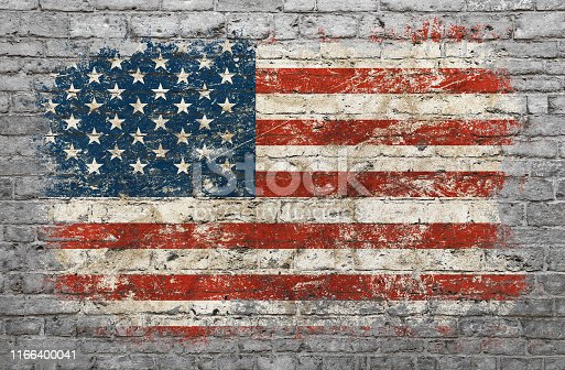 istock Flag of USA painted on brick wall 1166400041