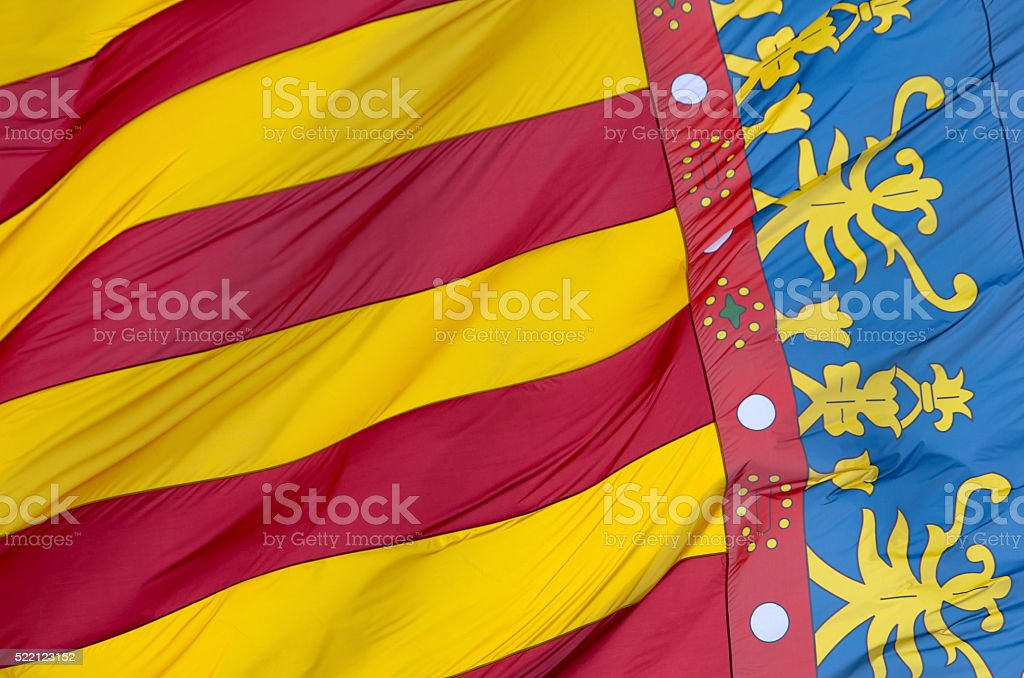 Flag of Valencia, Spain royalty-free stock photo