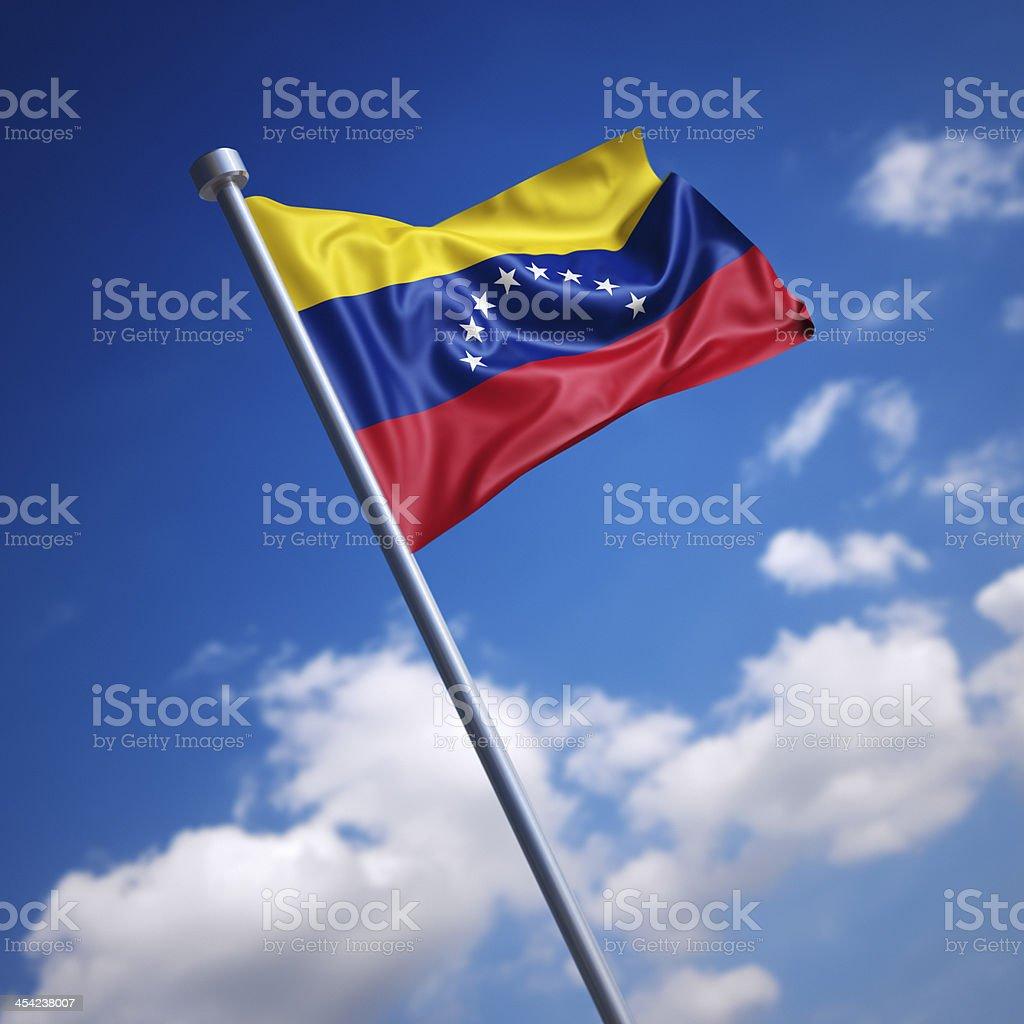 Bandera de Venezuela contra el cielo azul. - foto de stock