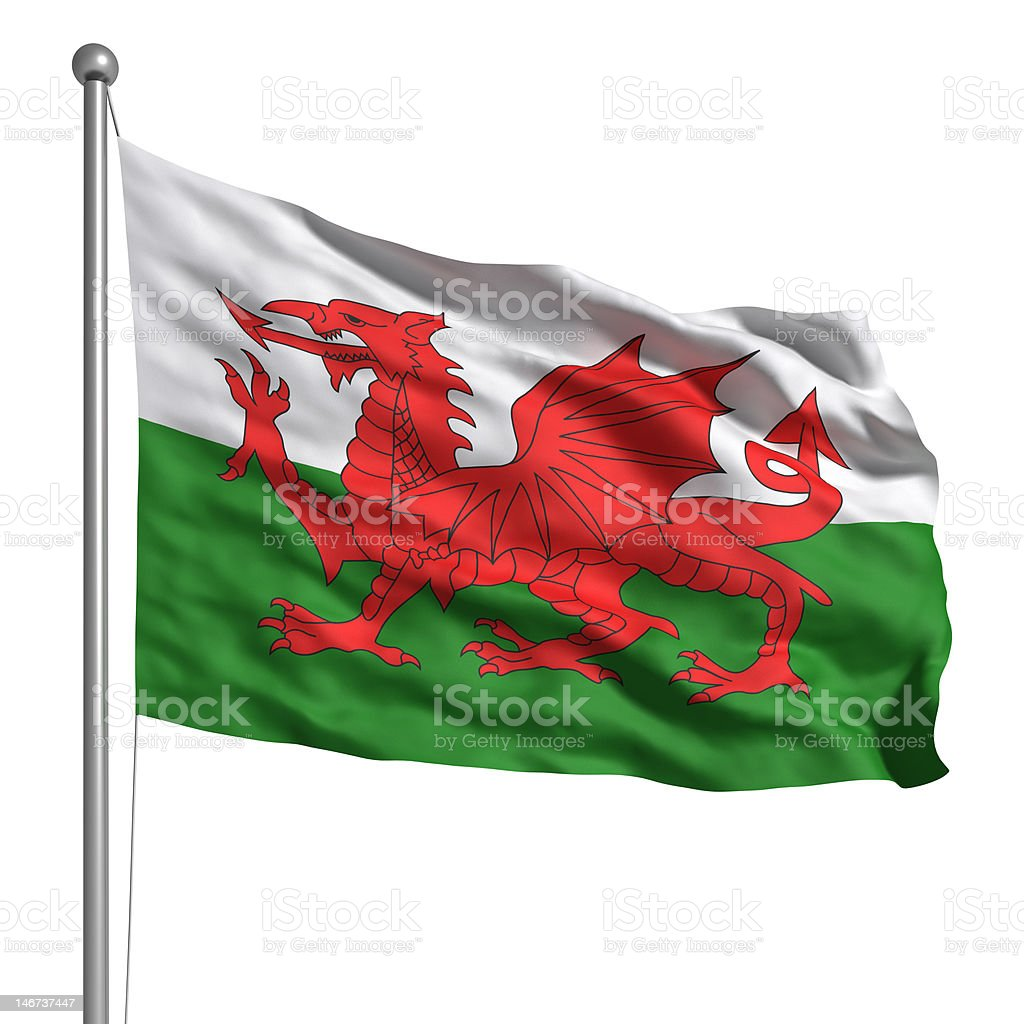 Flag of Wales (Isolated) stock photo