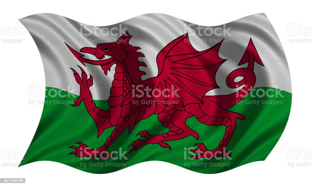 Flag of Wales wavy on white, fabric texture stock photo