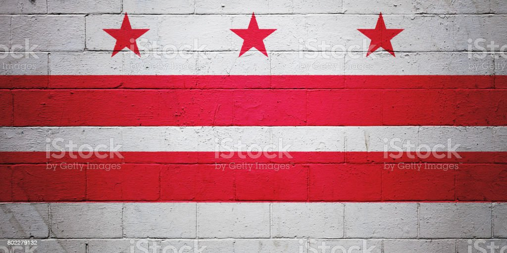 Flag of Washington DC painted on a wall stock photo