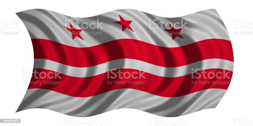 Flag of Washington, D.C. waving on white, textured stock photo