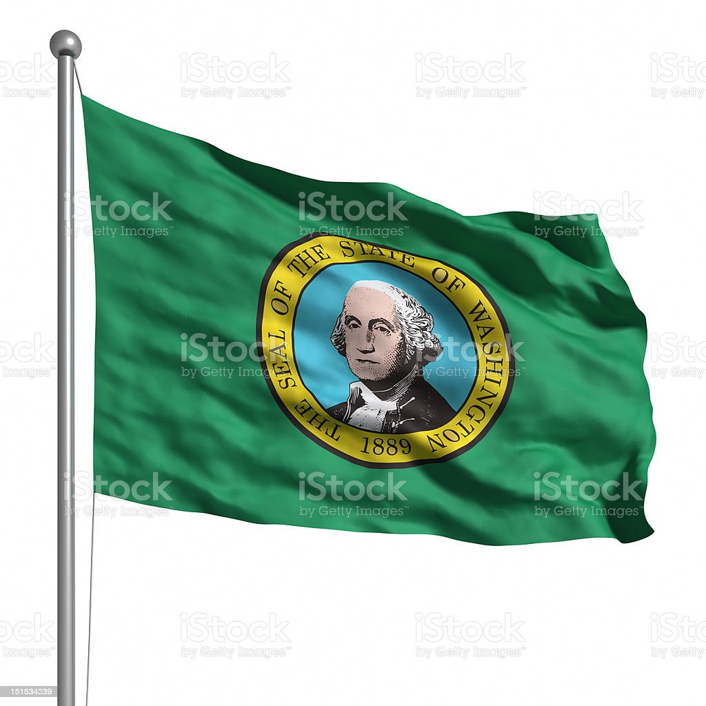 Flag of Washington (isolated) stock photo