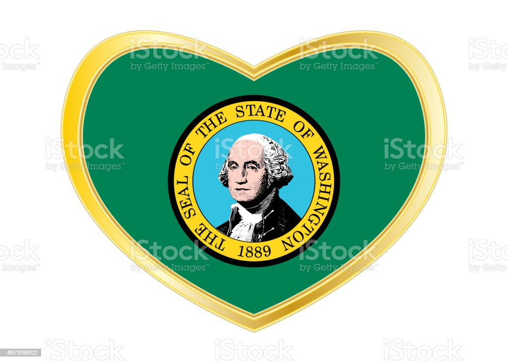 Flag of Washington state in heart shape Gold frame stock photo