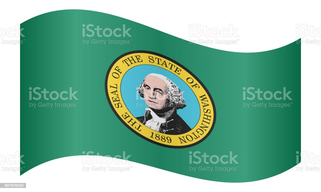 Flag of Washington state waving, white background stock photo
