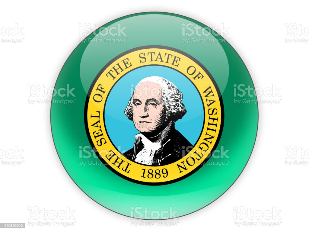 Flag of washington, US state icon stock photo