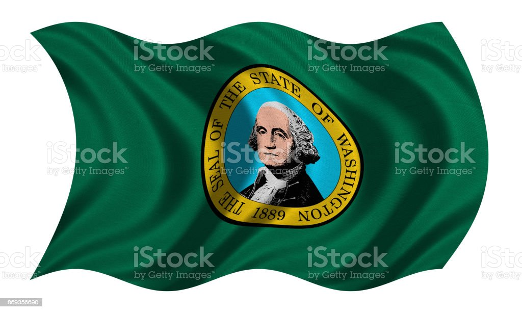 Flag of Washington wavy on white, fabric texture stock photo