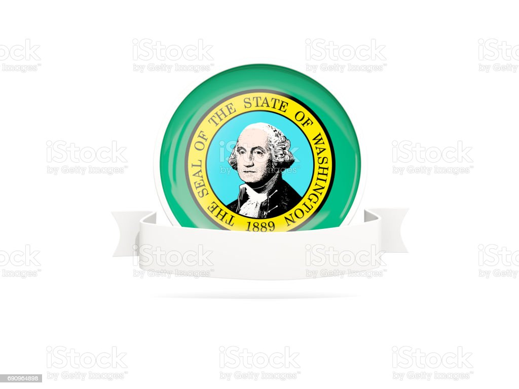 Flag of washington with banner, US state round icon stock photo