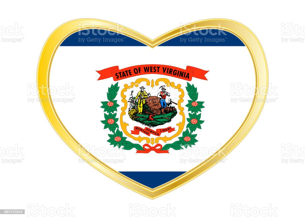 Flag of West Virginia in heart shape, golden frame stock photo