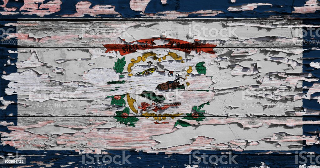 Flag of West Virginia painted on a grunge plank stock photo