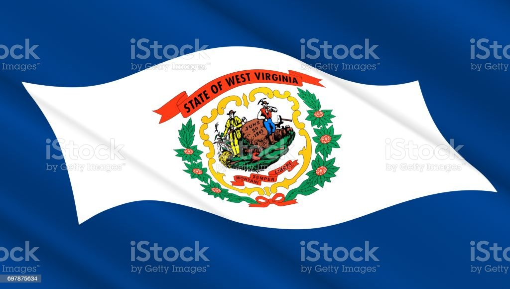 Flag of West Virginia state stock photo