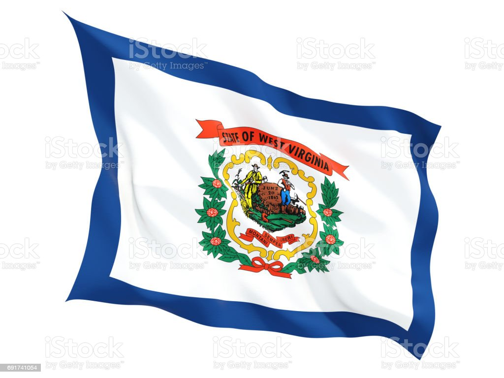Flag of west virginia, US state fluttering flag stock photo