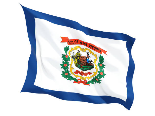Flag of west virginia, US state fluttering flag Flag of west virginia, US state fluttering flag isolated on white. 3D illustration west virginia us state stock pictures, royalty-free photos & images