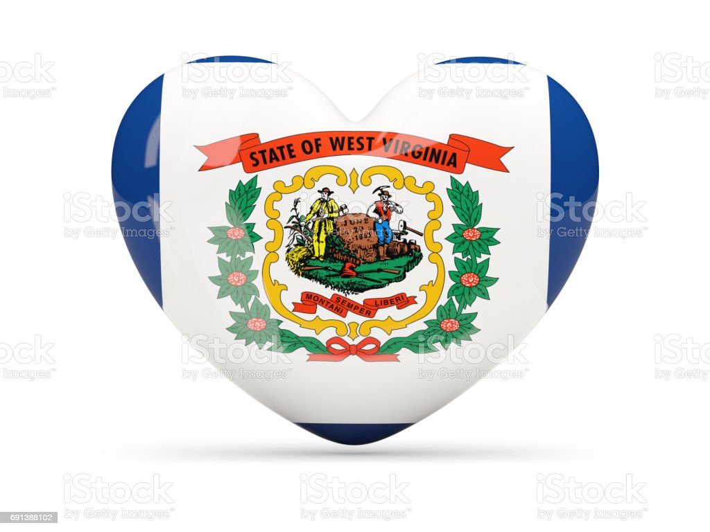 Flag of west virginia, US state heart icon stock photo