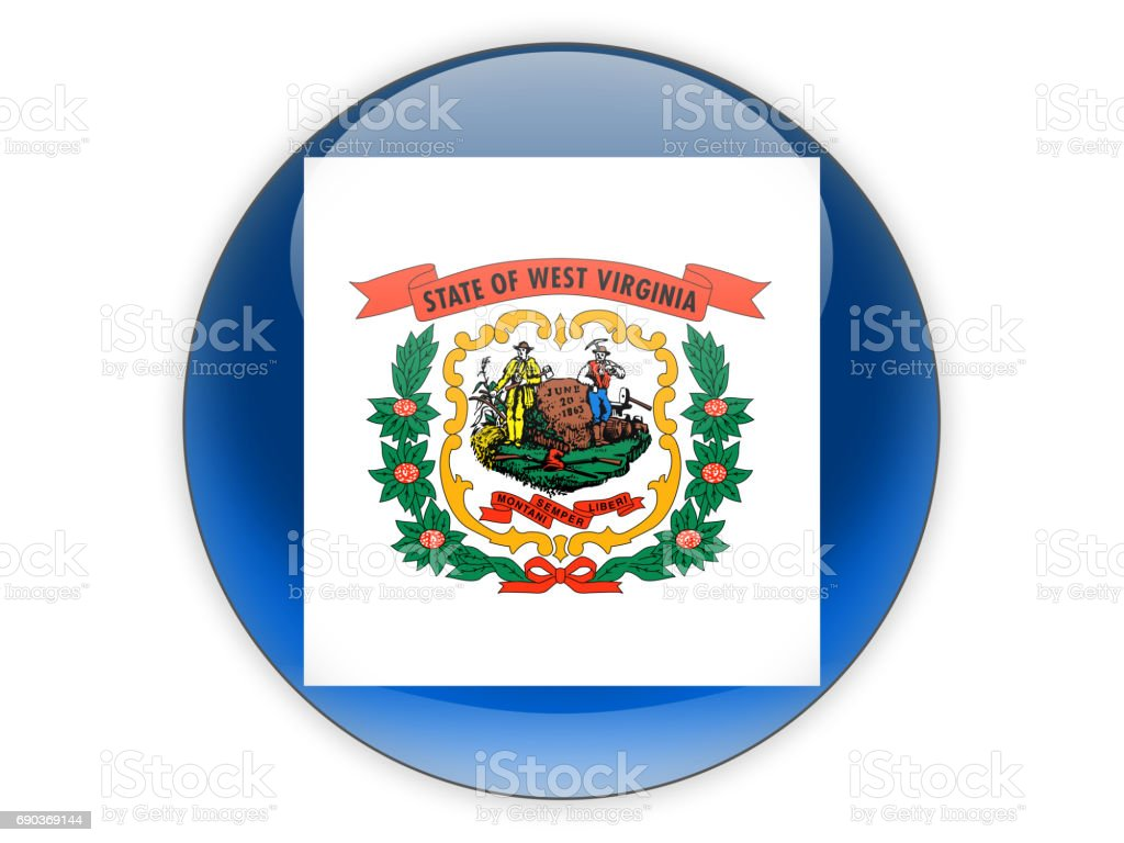 Flag of west virginia, US state icon stock photo