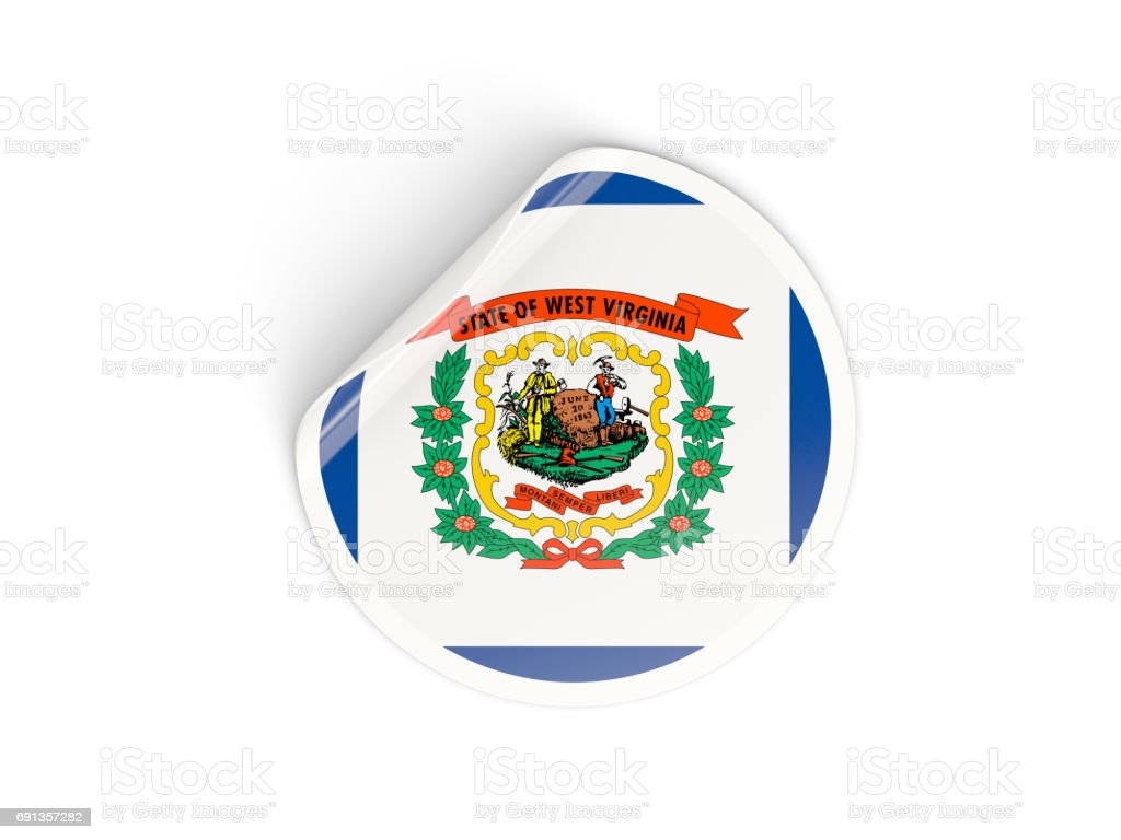 Flag of west virginia, US state round sticker stock photo