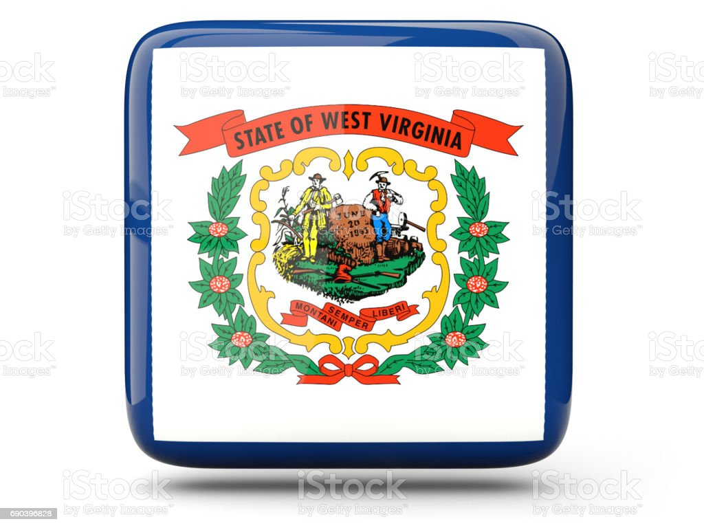Flag of west virginia, US state square icon stock photo