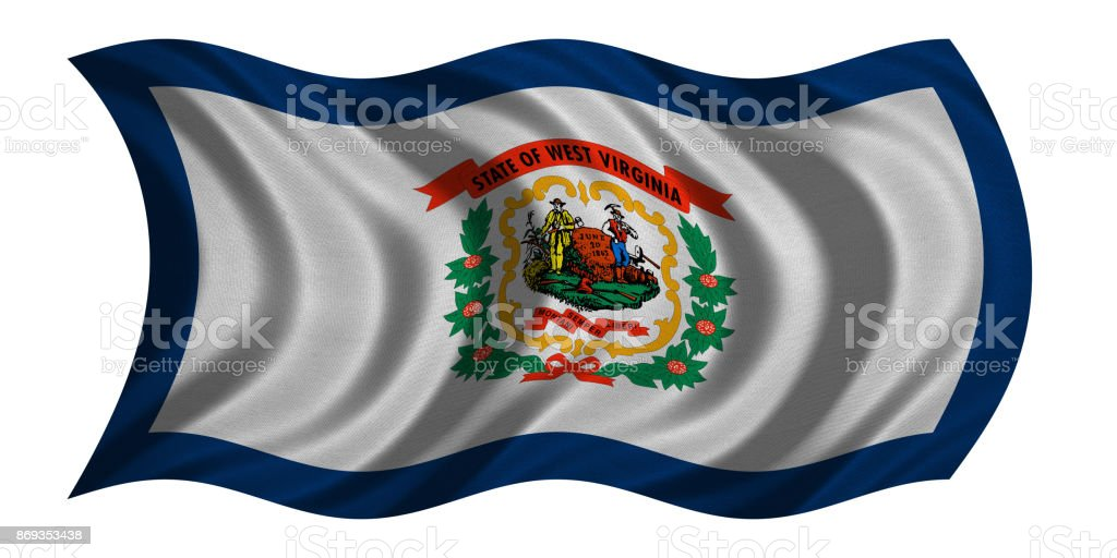 Flag of West Virginia wavy on white fabric texture stock photo
