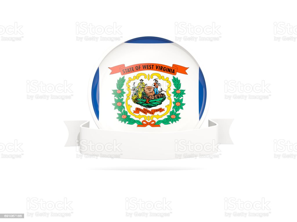 Flag of west virginia with banner, US state round icon stock photo