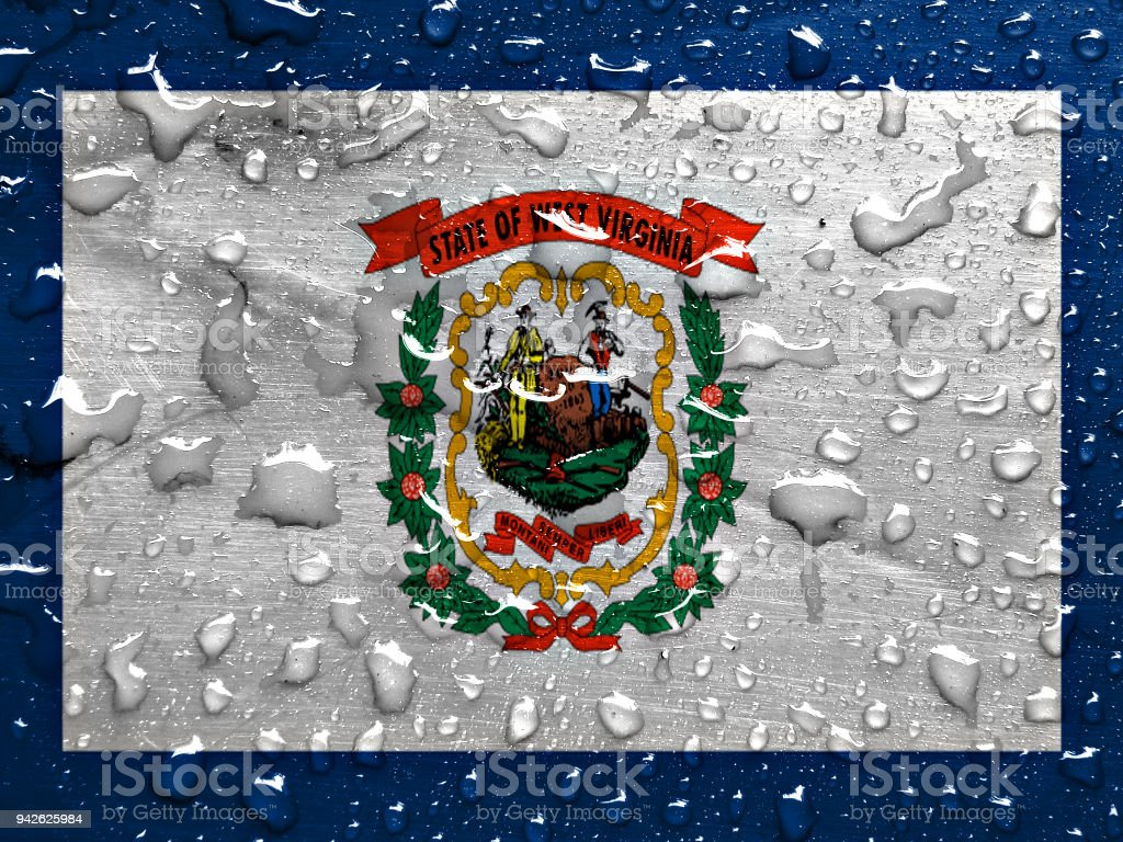 flag of West Virginia with rain drops stock photo