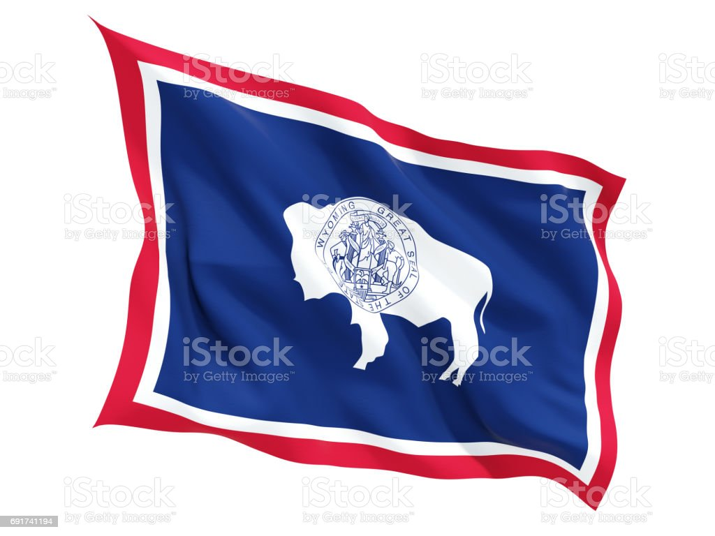 Flag of wyoming, US state fluttering flag stock photo