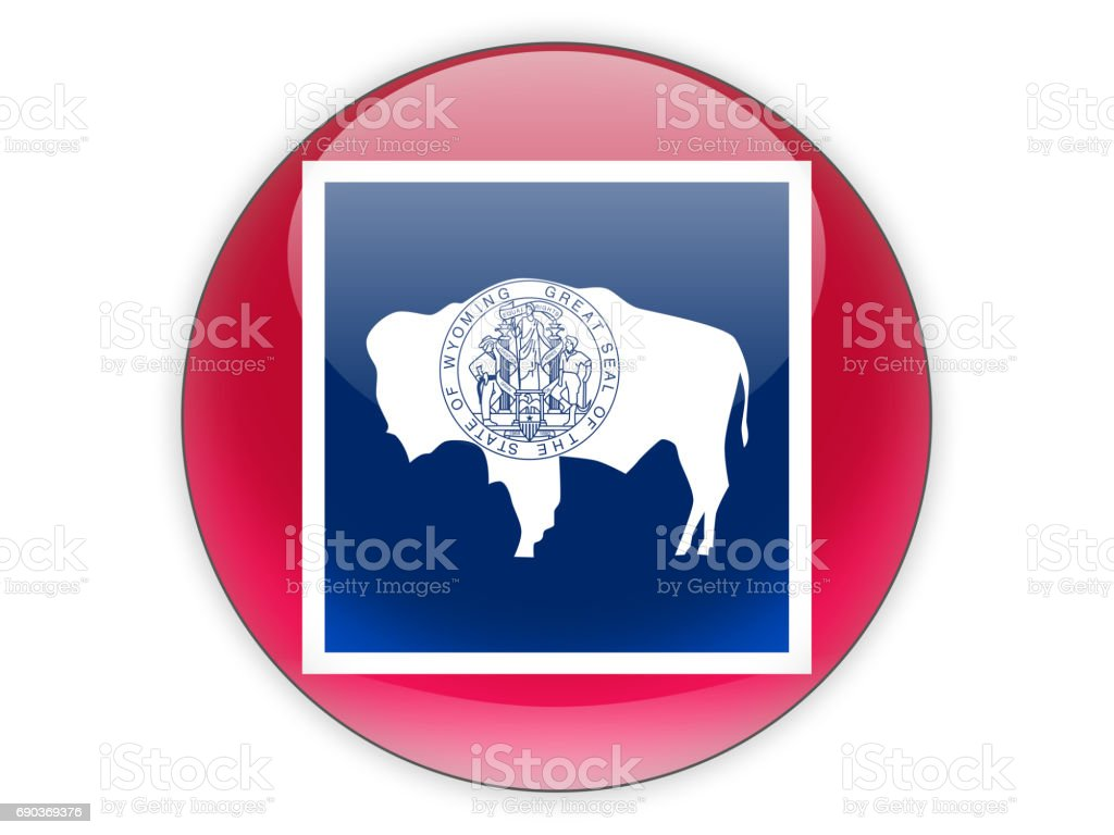 Flag of wyoming, US state icon stock photo