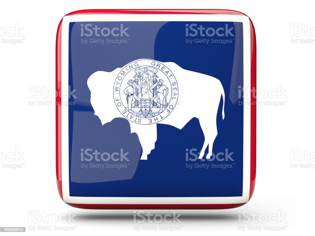 Flag of wyoming, US state square icon stock photo