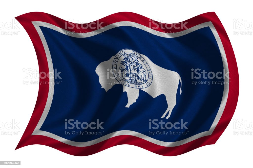 Flag of Wyoming wavy on white, fabric texture stock photo