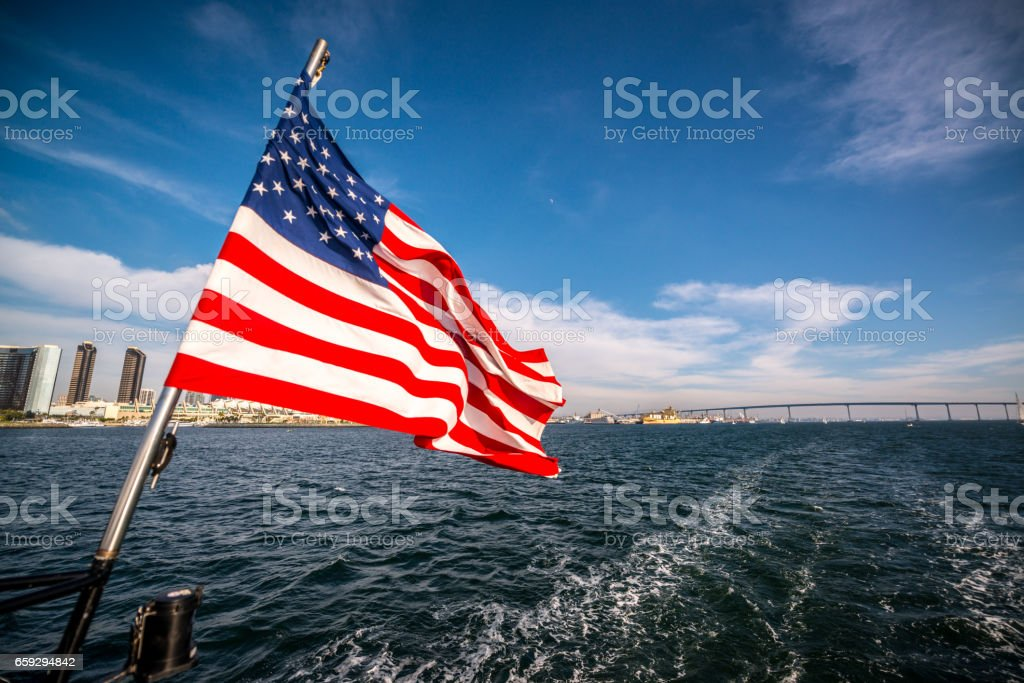 US Flag on a ferry from Coronado to San Diego, CA, USA stock photo