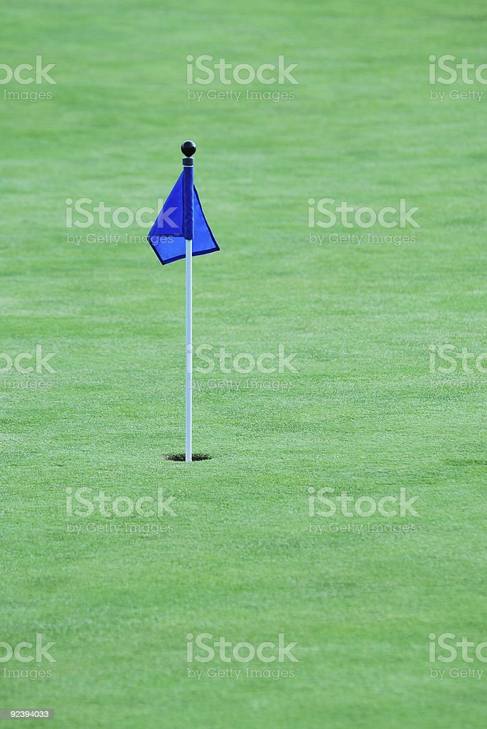 Flag on a golf green royalty-free stock photo