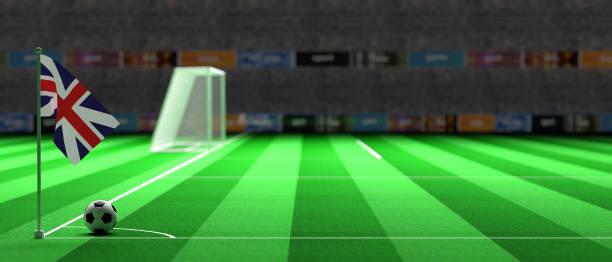 britische flagge auf einem fußballfeld. 3d illustration - teppich englisch stock-fotos und bilder