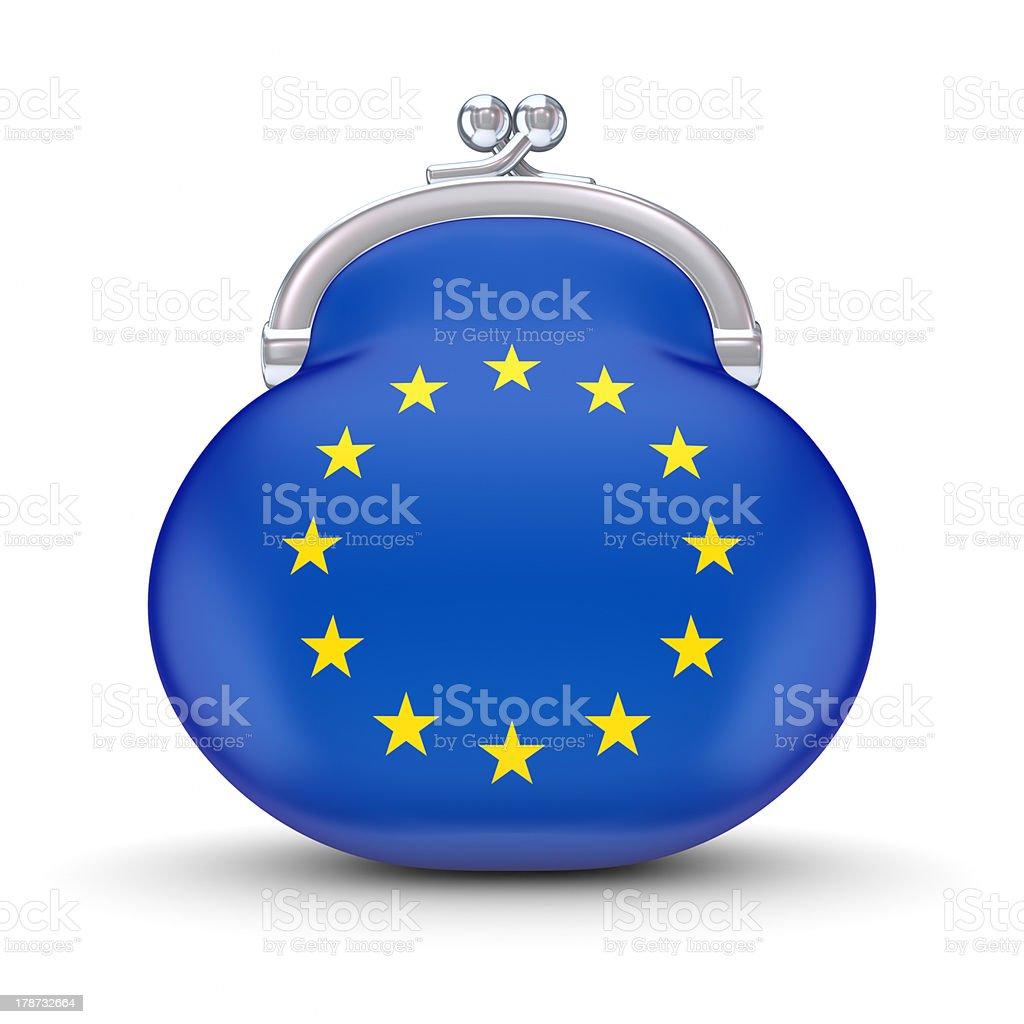 EU flag on a wallet. royalty-free stock photo