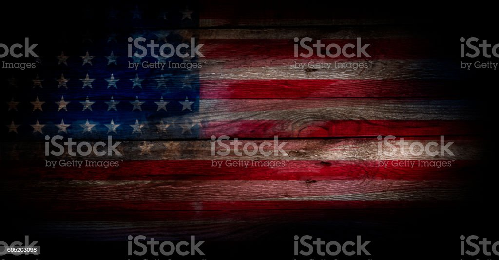 USA flag on a wood surface stock photo