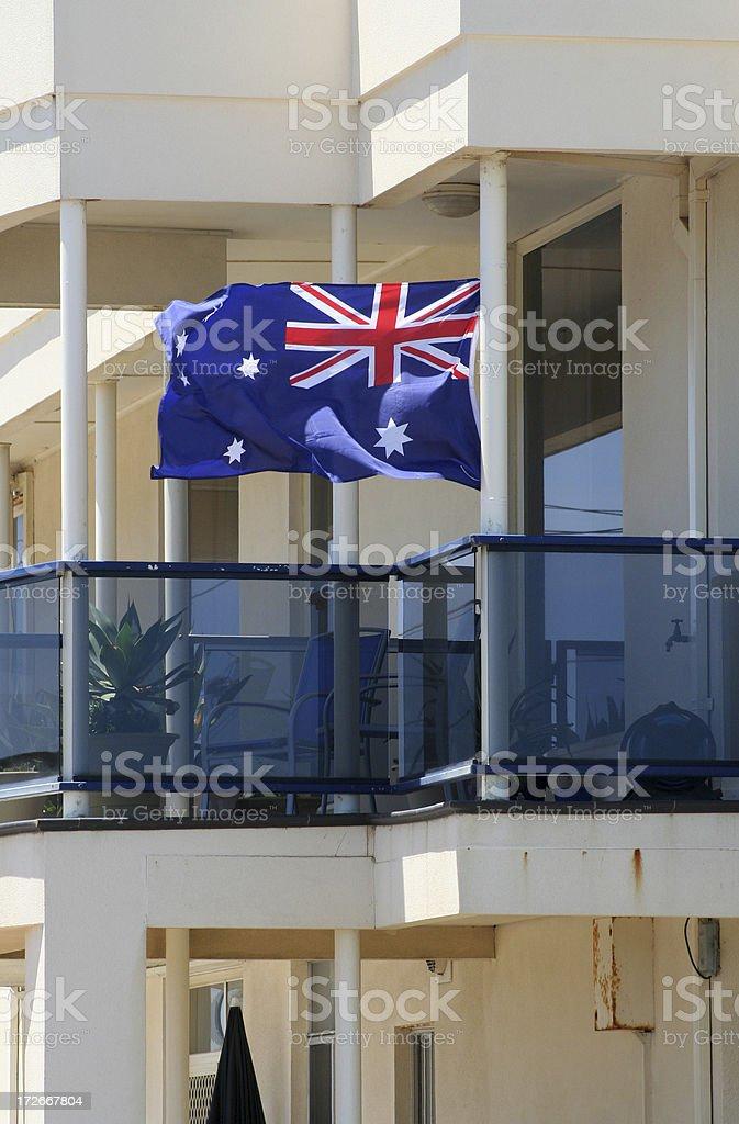 Flag on balcony royalty-free stock photo