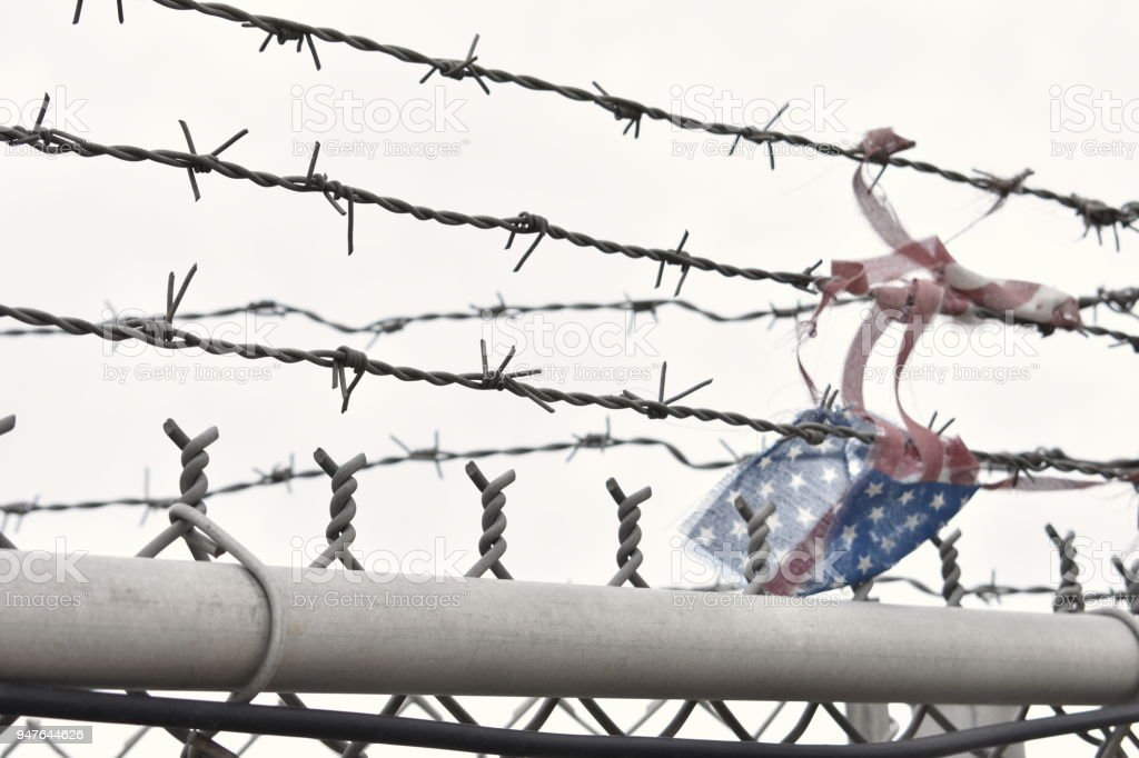 Flag on Barbed Wire stock photo