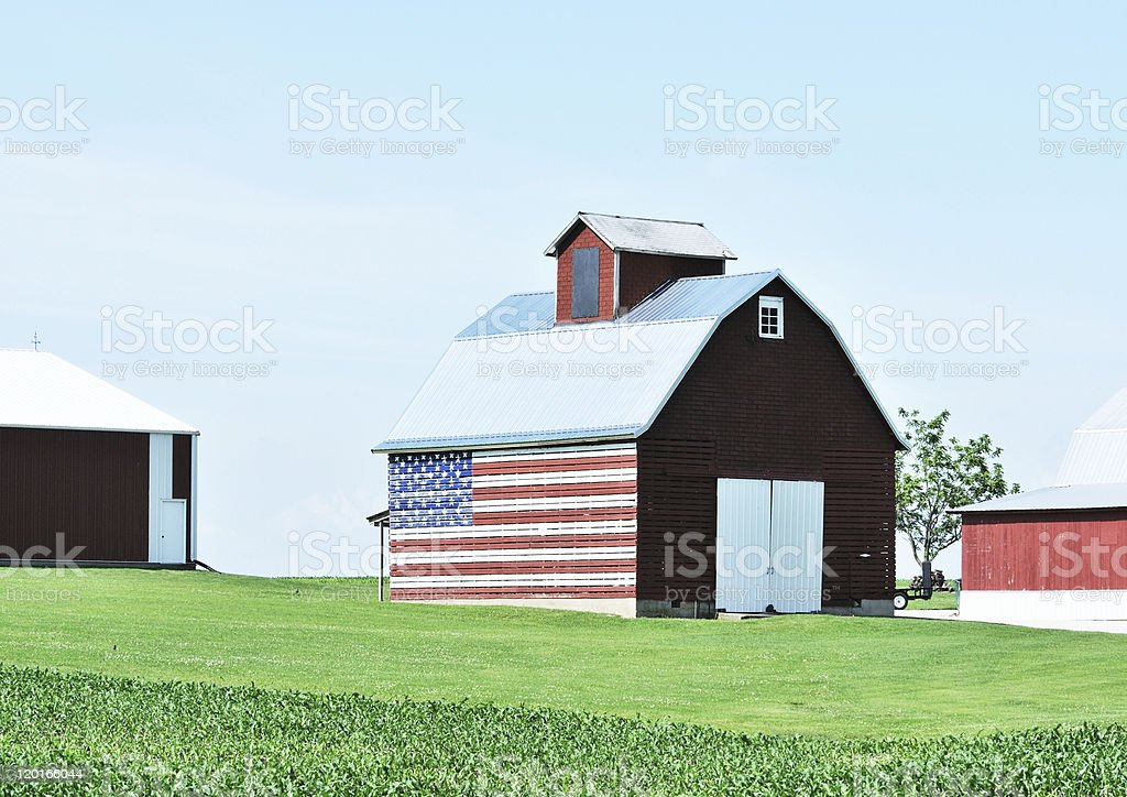 Flag on Barn stock photo