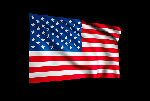 USA flag isolated on black background, wavy fabric 3D render illustration as as patriotic background.