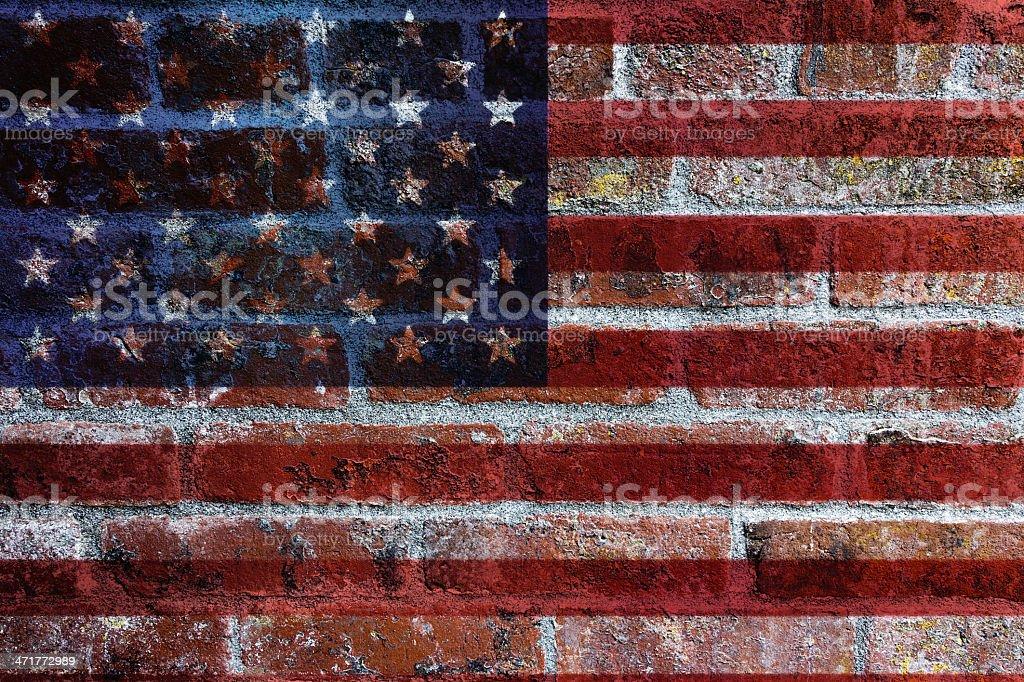 USA Flag on Brick Wall Background royalty-free stock photo