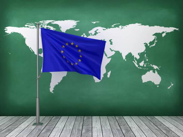 EUROPÄISCHE UNION Flagge an der Tafel - 3D Rendering – Foto