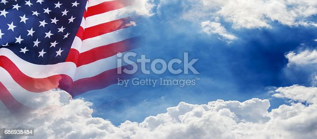 istock USA flag on cloud and blue sky background for 4 july independence day or other celebration 686938484
