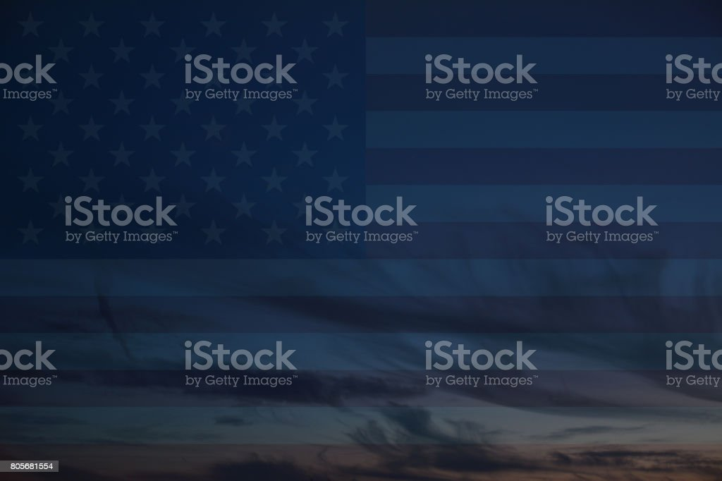 USA flag on cloudscape stock photo