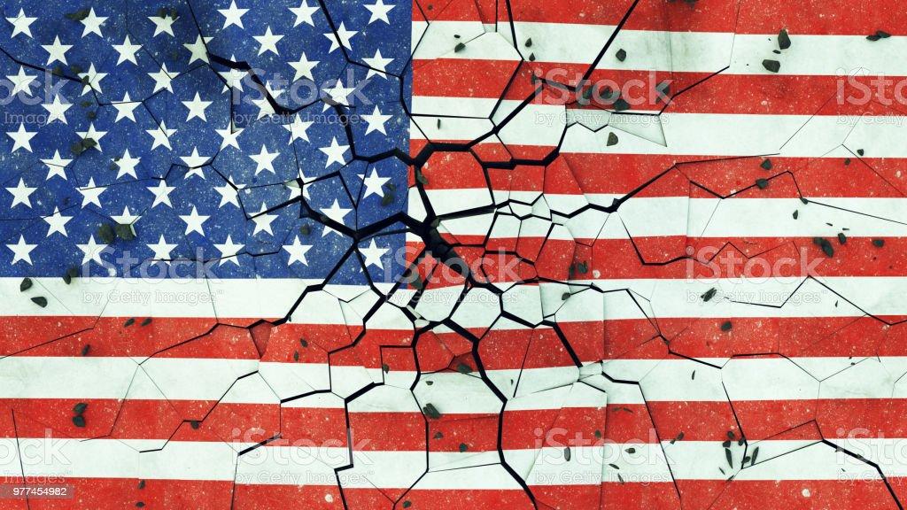 USA Flag On Cracked Concrete stock photo