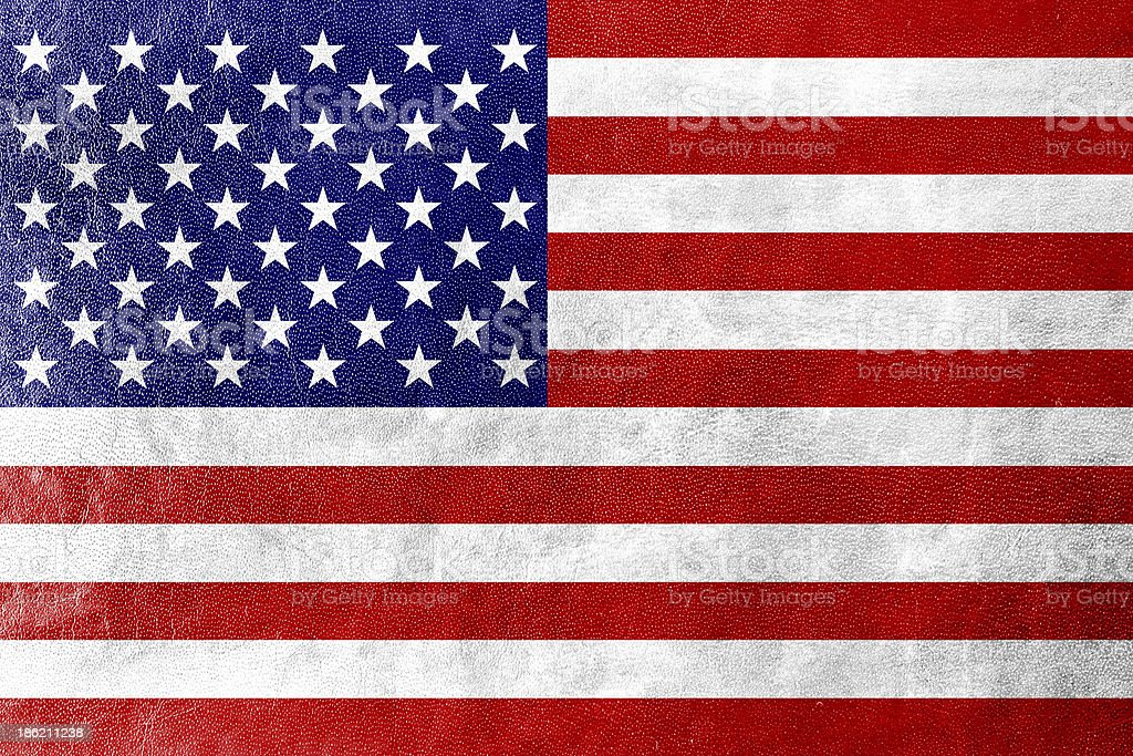 USA Flag on leather texture or background stock photo