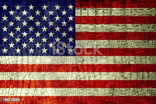 953130996istockphoto USA Flag on luxury crocodile texture or background 186213694